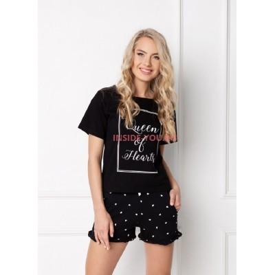 Женская пижама с шортами ARUELLE HEARTY BLACK