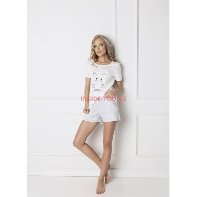Пижама с шортами ARUELLE CATWOMAN WHITE